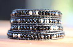 Black Crystal Wrap Bracelet on Black Leather by JPAdornments