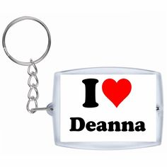 Exclusive Gift Idea: Keyring 'I Love Deanna' in White, a Great gift that comes from the Heart - Backpack pendant - love pendant - Keychains- Keyring- Christmas Gift >>> Click image for more details.