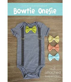 Tutorial: Baby boy suspender onesie with interchangeable bow tie