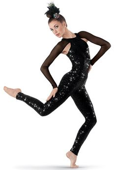 Weissman™ | Sequin-Spandex Unitard w/ Mesh Sleeves  sc 1 st  Pinterest & Gorgeous asymmetrical glitter tie-dye unitard features one long ...