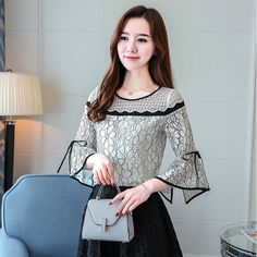 2017 new arrival autumn blouse female shirt office lady blouse slim shirt women's Speaker sleeves shirt women's tops 30 Blouse Styles, Blouse Designs, Sleeves Designs For Dresses, Stylish Blouse Design, Black And White Shirt, Black White, Techniques Couture, Casual Skirt Outfits, Spring Shirts