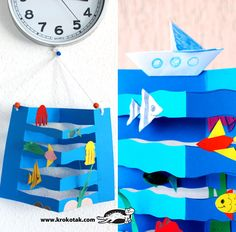Art Activities for Kids. Summer Crafts on the Marine Theme / Arts and Crafts Activities for Kids. Hobbies And Crafts, Arts And Crafts, Paper Crafts, Summer Crafts For Kids, Art For Kids, Under The Sea Crafts, Sailing Theme, Art Activities For Kids, Craft Kids