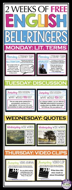 Begin each of your middle or high school English classes with these daily bell-ringer routines for two weeks! Each day has a different engaging activity that your students will love. Monday introduce a literary term with examples from movies, music, and TV. Tuesday have students discuss an ethical prompt. Wednesday students reflect on a thought-provoking quote. Thursday start with an engaging video clip and student respond to a journal prompt. End the week off on Friday with silent reading!