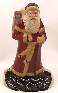 Heritage-Metalcraft-Cast-Iron-Santa-Christmas-Door-Stop-7-1-4-Tall