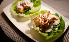 Spicy chicken & cucumber in Boston lettuce cups with a drizzle of light ranch dressing.