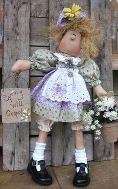 Skinny Winnie E pattern por DeenasCountryHearth en Etsy Doll Toys, Baby Dolls, Sewing Dolls, Soft Dolls, Soft Sculpture, Cute Dolls, Fabric Dolls, Doll Face, Kind Mode