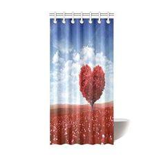 InterestPrint Home Bathroom Decor Valentine Love Heart Tree Shower Curtain Hooks 36x72 Inch-Red Valentine Oak Love Heart Tree Under the Blue Sky-Waterproof Polyester Fabric