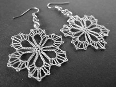 Snowflake || Small Silver Snowflake Lace Earrings | Winter Snow | Handmade Bobbin Lace Jewelry