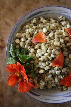 Sweet Corn with Mint Pumpkin Seed Pesto