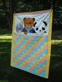 Adorable, so sweet. Calico Bear Teddy Bear Panda Bear Baby Quilt by mousessewingroom,