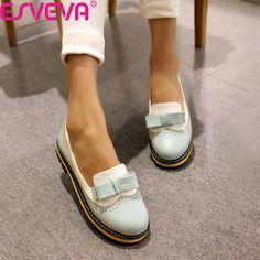 ESVEVA 봄/가을 슬립 라운드 발가락 플랫 여성 신발 혼합 컬러 레이스 얕은 입 PU 부드러운 가죽 미스 신발 사이즈 34-43Pink