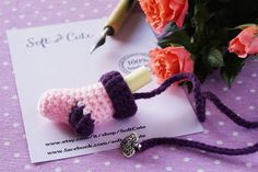 Valentine's day sock BOOKMARK  pink and purple wool  di SoftCute