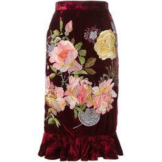 Alice Archer 'Delia' velvet skirt (72.755 RUB) ❤ liked on Polyvore featuring skirts, bottoms, velvet, юбки, red, velvet high waisted skirt, ruffle hem skirt, red knee length skirt, high waisted knee length skirt and flounce hem skirt