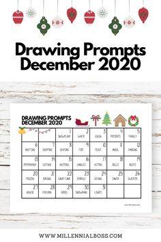 Sketchbook Prompts, Art Prompts, Writing Prompts, Drawing Prompt, Drawing Journal, Drawing Ideas, December Challenge, December Daily, Drawing Challenge