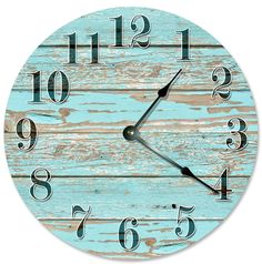 OLD BLUE WORN WOOD Clock Large 10.5' Wall Clock Decorative Round Circle Clock Home Decor Novelty Clock PRINTED COLORED WOOD -- Learn more by visiting the image link. (This is an affiliate link and I receive a commission for the sales)