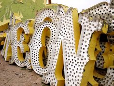Not far from the mammoth hotels of the Las Vegas strip is the quiet desert resting place of the city's neon history. The Las Vegas Neon Museum and its Typography Love, Lettering, Typography Letters, Neon Museum, Vintage Neon Signs, Graphic Projects, Layout, Vintage Circus, Mellow Yellow