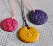 Clay Necklaces - great to make at little girls bday party