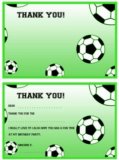 Printable Soccer Thank You Notes from PrintableTreats.com