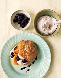 Find the recipe for Peach and Blackberry Shortcakes with Blackberry Cream and other dairy recipes at Epicurious.com
