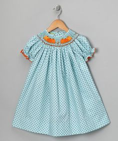 Take a look at this Turquoise Pumpkin Bishop Dress - Infant, Toddler & Girls by Candyland on #zulily today!