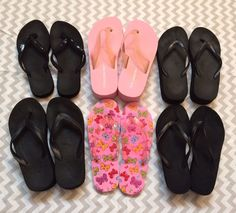 6 Pairs Of Flip Flops Lot. Black And Pink With Design. Size 7/7.5,   | eBay
