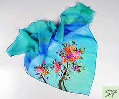 Turquoise Silk Scarf Handpainted Pink Cherry Hand by SilkFantazi