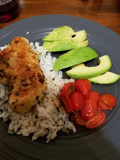Cilantro lime chicken and rice with grape tomatoes and avocado #food