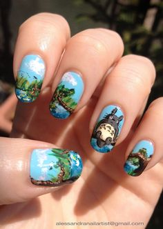 "My new nail art, inspired by ""My neighbour Totoro"" - Miyazaki. Such a poetic film! I love it. Painted on natural nails.:)"