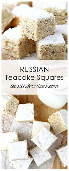 Russian Teacake Squares Recipe: All the flavors of a classic Russian Teacake cookie, in an easy to make bar cookie form. Ukrainian Recipes, Croatian Recipes, Russian Recipes, Ukrainian Food, German Recipes, Hungarian Recipes, Russian Dishes, Russian Desserts, Russian Foods