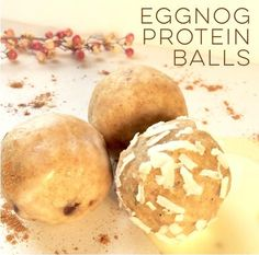 Creamy Eggnog Protein Balls ~ Bulletproof, grain free, gluten free, so festive & delicious! Easy Recipe ~ 1 bag of Primal Protein Bar Mix + 1/3 Cup Eggnog + 1/4 Cup Grassfed Butter or Ghee. Mix with a fork, roll balls, chill for 10 to 20 minutes & enjoy!  ProteinBarMix.com