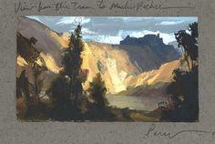 Sketch Book Nathan Fowkes Land Sketch: The Inca Trail, Peru. Landscape Sketch, Fantasy Landscape, Abstract Landscape, Landscape Paintings, Watercolor Landscape, Landscapes, Gouache Painting, Watercolor Paintings, Moleskine