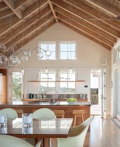 Stainless steel counters with light timber...works beautifully