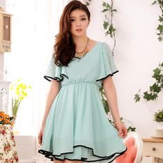 Buy 'JK2 – Contrast-Trim Rhinestone Ruffle Chiffon Dress' with Free International Shipping at YesStyle.com. Browse and shop for thousands of Asian fashion items from China and more!