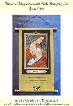 Each Tarot of Empowerment Major Arcana card is available as a beautiful scroll style wall hanging. If you have a favorite card from this deck you can order it as a wall hanging, and it will enhance any room by a bringing to it the power of that card!
