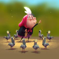 Bird Lady (Dark Animation), by Paul Tinker Cartoon Drawings, Cartoon Art, Cute Drawings, 3d Street Art, Character Design References, 3d Character, Animation Character, Cute Illustration, Character Illustration