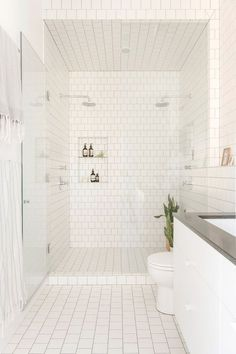 All white tile | Brooklyn Townhouse