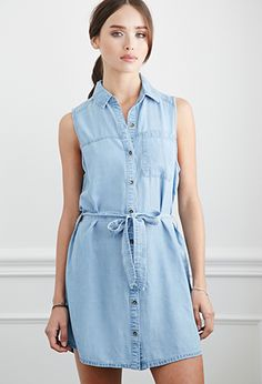 Belted Chambray Shirt Dress | Forever 21 | #f21denim