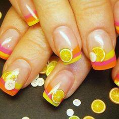 Summer citrus clay inlays nail dedign