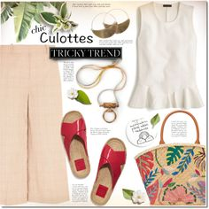 Tricky Trend: Chic Culottes ^TS by rosie305 on Polyvore featuring J.Crew, Tory Burch, Lila Rice, TrickyTrend and culottes