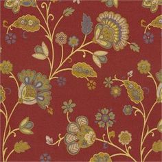 Tilly Trail Jewel 652822 Waverly Red Woven Floral Fabric;