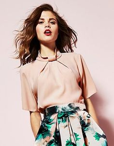Womens shell pink closet knot collar blouse from Lipsy - £38 at ClothingByColour.com