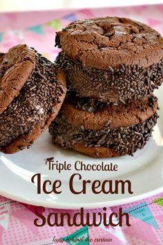 Triple Chocolate Ice Cream Sandwich - Lady Behind the Curtain Ice Cream Treats, Ice Cream Desserts, Ice Cream Recipes, Chocolate Cookies, Chocolate Desserts, Chocolate Sprinkles, Chocolate Ice Cream, Chocolate Lovers, Yummy Ice Cream