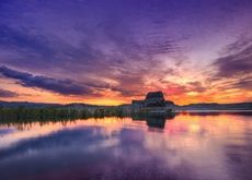 water sunsets clouds landscapes nature hills rocks mesas
