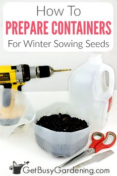 Preparing winter sowing containers is easy, but it does take some time. Learn exactly how to do it, and get tips that will help you get the job done faster. Plastic Pots, Plastic Containers, Gardening For Beginners, Gardening Tips, Cold Climate Gardening, Mini Greenhouse, Growing Seeds, Garden Seeds, Seed Starting