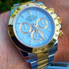 Rolex Daytona in two toned stainless steel and yellow gold.