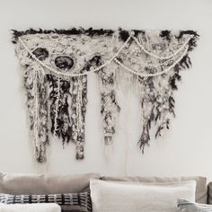 Hand Felted Wall Hanging — The Felted Home Felt Wall Hanging, Wooden Poles, Nature Tree, Textile Art, Minimalist Fashion, Hand Sewing, Embellishments, Art Pieces, Artisan