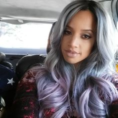 """Want the secret ingredient to @sheisdash's perfect Lavender Grey? Her stylist @cynthiaglam is sharing! Head to @modernsalon for the (Pravana!) scoop. 