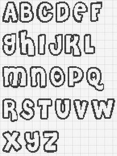 Cross stitch alphabet pattern bubble letters