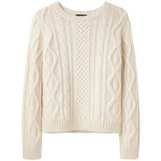 A.P.C. Irish Cable Knit Sweater ($208) ❤ liked on Polyvore featuring tops, sweaters, shirts, jumpers, pink fuzzy sweater, pink long sleeve shirt, long-sleeve shirt, fuzzy sweater and long sleeve sweater