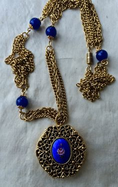 Vintage blue enamel locket with roses brass by TwoSwansSwimming